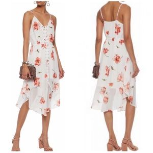 Haute Hippie Front Lace Up White Floral Midi Dress